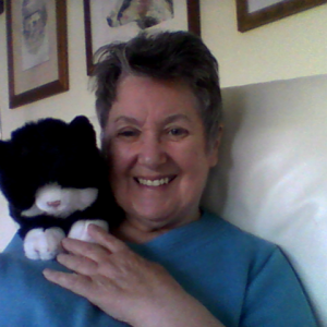 Thomasina, a raffle subscription cat with new owner Fiona Grant-Turner