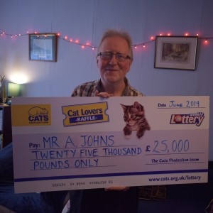 """I'm over the moon, absolutely over the moon!"" – Mr A. Johns, Winchester – Summer 2019 Cat Lovers Raffle jackpot winner"