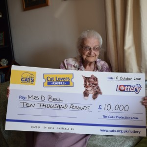 Cat lover, Mrs Bell, was delighted when she won the £10,000 Jackpot in our 2018 Autumn Superdraw
