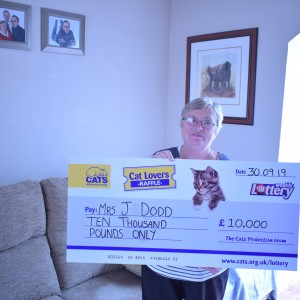 """We lost our cat, Fluffy, a couple of years ago, but we love to support Cats Protection.  What a lovely surprise""- Mrs Dodd"