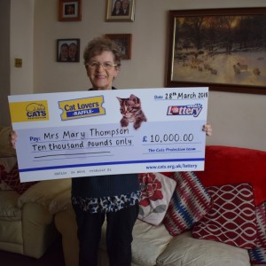 I can't believe it – I'm 77 and have never won anything in my life! From only £1 I have won £10,000 on Cats Protection Spring Raffle!